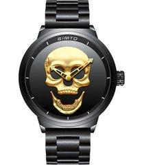 reloj hombres skull 3d lujo acero vintage 244 negro dorado
