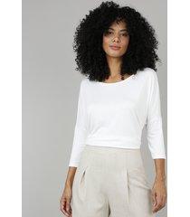 blusa feminina ampla básica manga longa off white