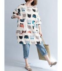 camicette lunghe a maniche lunghe stampate stampate per le donne