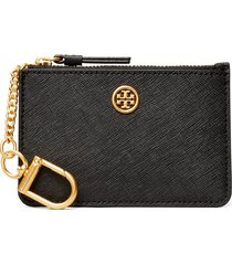 women's tory burch robinson leather card case with key chain - black