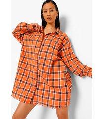 geruite oversized blouse jurk met vlinder rugopdruk, orange