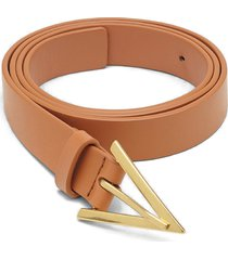 women's bottega veneta leather belt, size 95 - clay/ gold