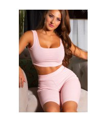 trendy 2 piece-set crop top + biker shorts roze