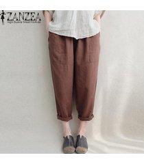 zanzea pantalones de lino de algodón bolsillos laterales de cintura elástica pantalones largos sólidos -marrón