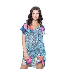 blusa 101 resort wear saida de praia crepe estampada floral azul