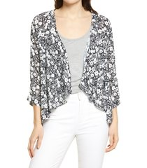 women's bobeau emily print drape front cardigan, size xx-large - black