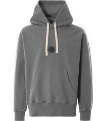 nigel cabourn embroidered logo hoodie - raf grey nclghd-gry