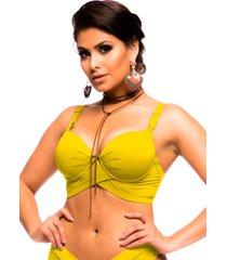 sutiã sempre sensual reforçado cruzado com bojo amarelo