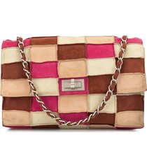chanel pre-owned 1998 2.55 line patchwork shoulder bag - brown