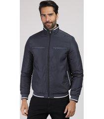 jaqueta masculina acolchoada em nylon com bolsos gola alta chumbo