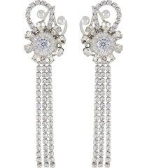 'disintegration of dreams' detachable tassel pearl swarovski crystal clip earrings