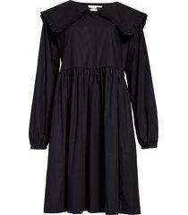 women's molly goddard atlanta long sleeve poplin babydoll dress, size 10 us - black