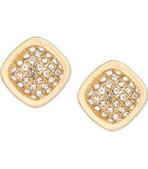 charter club gold-tone pave square stud earrings, created for macy's