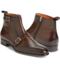 handmade double monk ankle brown shoes, dress formal leather boots fashion boots