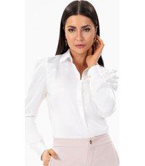 camisa feminina de cetim off white