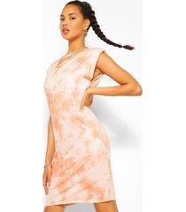 the tie dye shoulder pad t shirt dress, terracotta