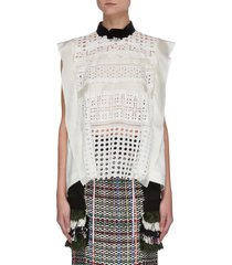 contrast collar sleeveless graphic mesh lace blouse