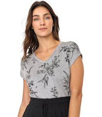 blusa lunender floral cinza/preta