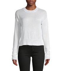rta women's striped crewneck sweater - white cloud - size s