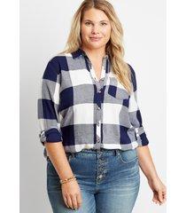 maurices plus size womens navy buffalo plaid button down shirt blue