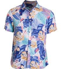 camisa areia branca slim fit floral maldivas estampada azul