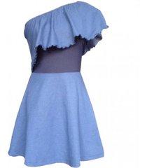 vestido falda en a escote asimétrico sarab mujer-azul