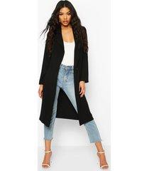 button tailored longline duster coat, black