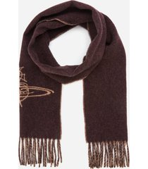 vivienne westwood women's double face scribble logo scarf - burgundy