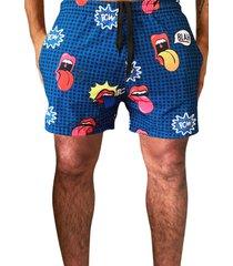 shorts praia j10 estampa pop art microfibra com elastano bolsos nas laterais j10 ref.01035 colorido