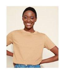 t-shirt feminina mindset básica manga curta decote redondo marrom