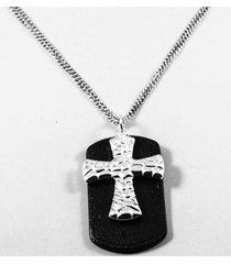 collar gris diesel cuero cruz