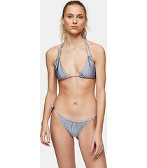blue ruched tie side bikini bottoms - blue
