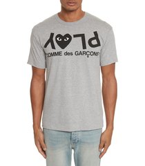 men's comme des garcons play upside down graphic tee