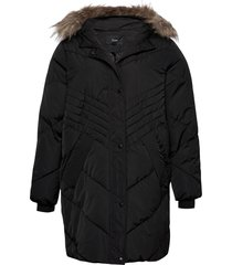 winter jacket plus hood fur collar zip quilted gevoerd jack zwart zizzi