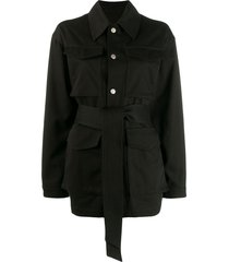 ami patch pockets military jacket - black