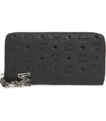 women's mcm klara leather zip wallet - black
