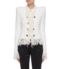collarless fringe tweed jacket
