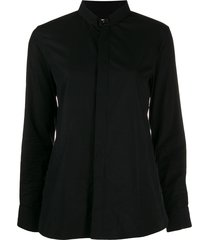 saint laurent mandarin collar shirt - black