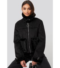 na-kd faux suede fur jacket - black