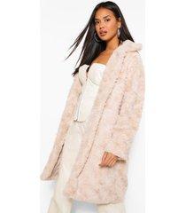 getextuurde faux fur jas, steenrood