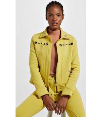 jaqueta de malha estruturada amarela com ilhós amarelo yoko - g
