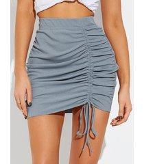 falda de cintura elástica con diseño de cordón fruncido azul yoins