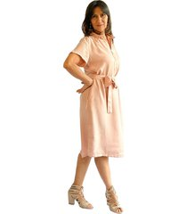 vestido corto camisero chalis rosado plica