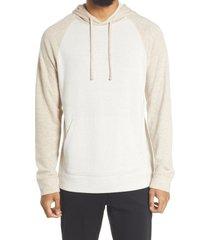 men's vince slim fit double knit hoodie, size xx-large - brown
