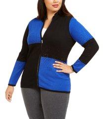 belldini plus size colorblocked rhinestone zip sweater