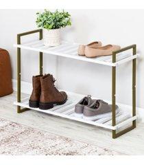 honey can do 2-tier tubular metal shoe rack