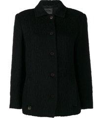 versace pre-owned '2000s cutaway collar coat - black