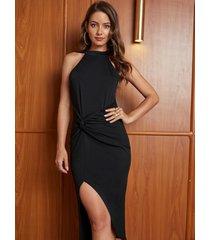 yoins negro twist diseño cabestro con dobladillo abierto vestido
