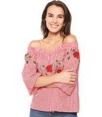 blusa luna off shoulder roja vero moda - calce holgado