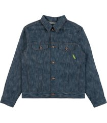 """naked and famous x rick & morty pickle rick """"solenya"""" selvedge denim jacket chenille embroidery 